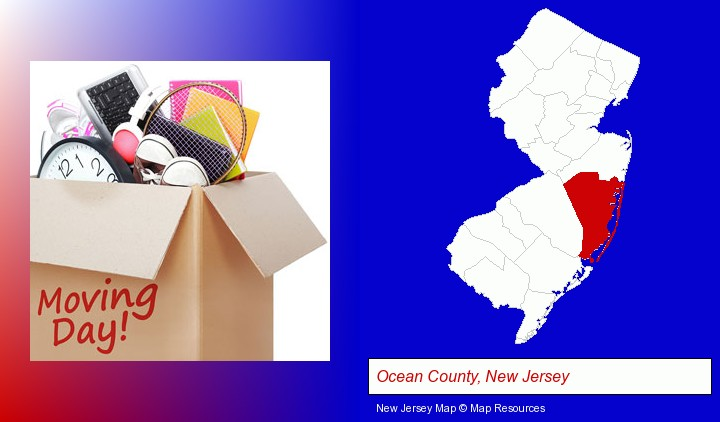moving day; Ocean County, New Jersey highlighted in red on a map