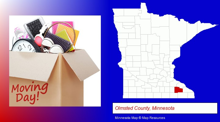 moving day; Olmsted County, Minnesota highlighted in red on a map