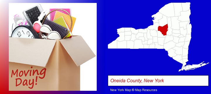 moving day; Oneida County, New York highlighted in red on a map