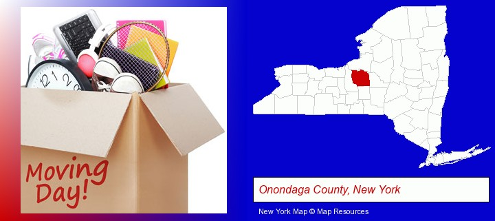 moving day; Onondaga County, New York highlighted in red on a map
