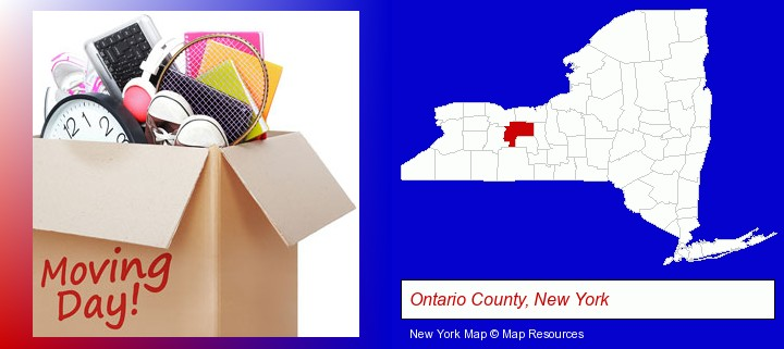 moving day; Ontario County, New York highlighted in red on a map