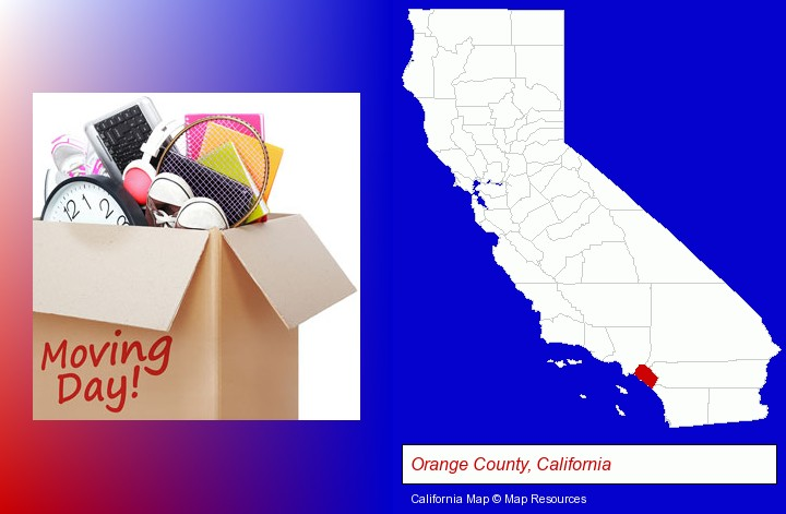 moving day; Orange County, California highlighted in red on a map