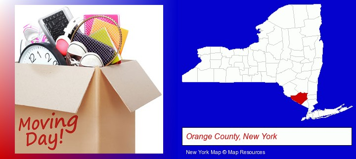 moving day; Orange County, New York highlighted in red on a map
