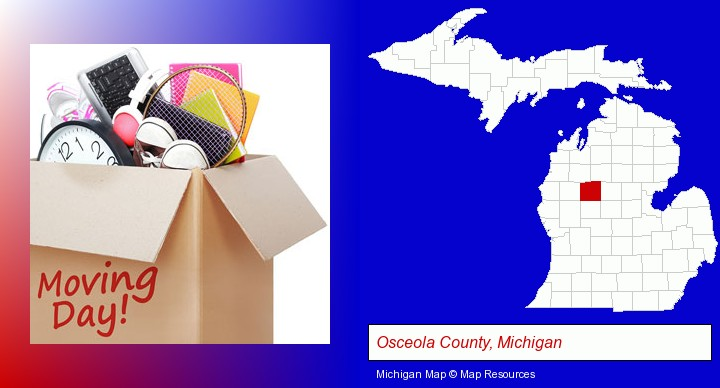 moving day; Osceola County, Michigan highlighted in red on a map