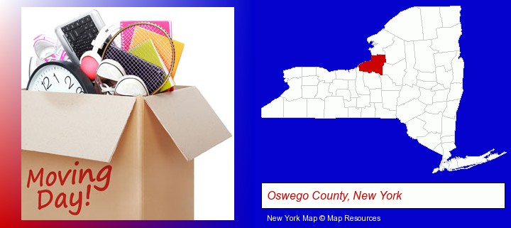 moving day; Oswego County, New York highlighted in red on a map