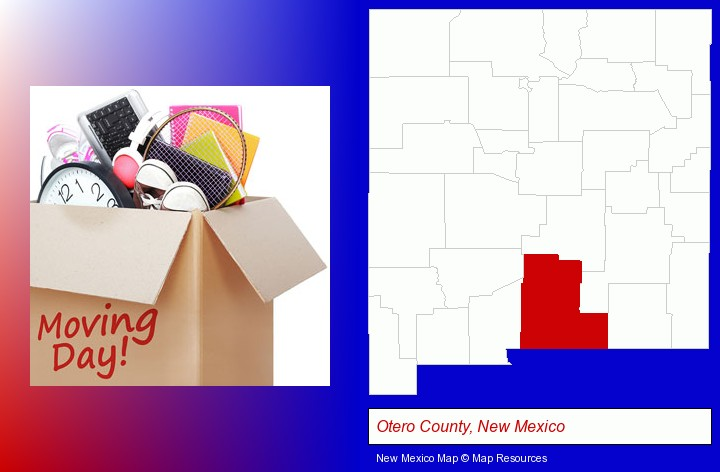 moving day; Otero County, New Mexico highlighted in red on a map