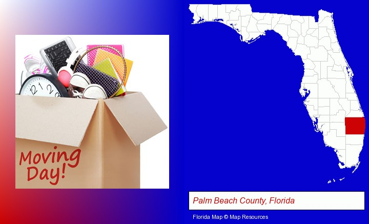 moving day; Palm Beach County, Florida highlighted in red on a map