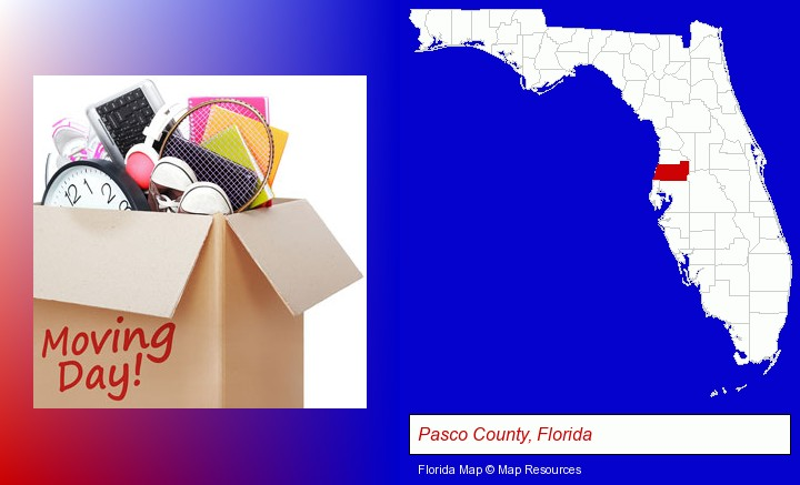 moving day; Pasco County, Florida highlighted in red on a map