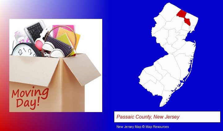 moving day; Passaic County, New Jersey highlighted in red on a map