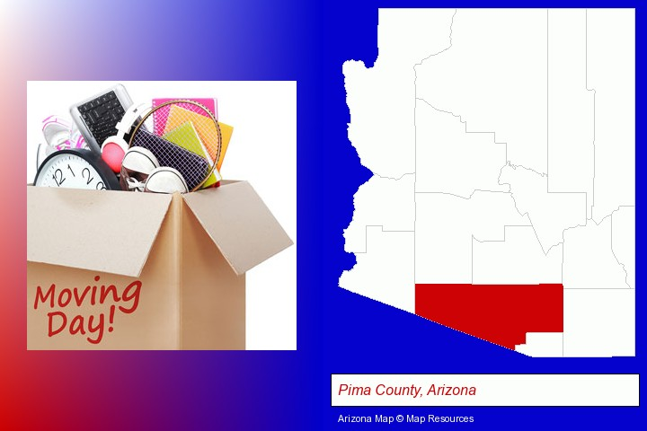 moving day; Pima County, Arizona highlighted in red on a map