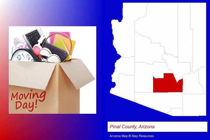 moving day; Pinal County, Arizona highlighted in red on a map