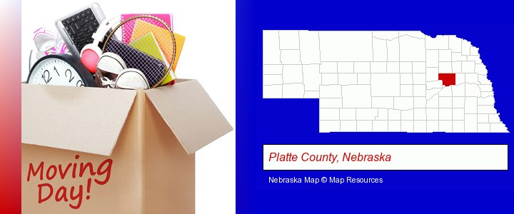 moving day; Platte County, Nebraska highlighted in red on a map