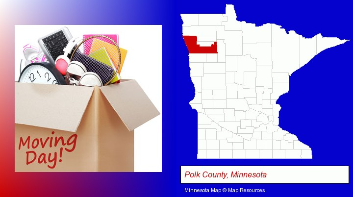 moving day; Polk County, Minnesota highlighted in red on a map