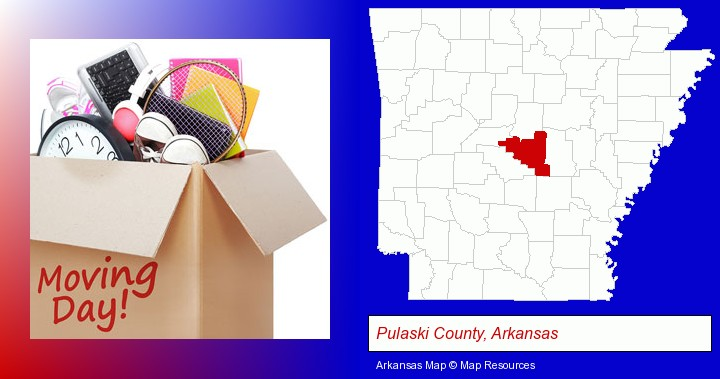 moving day; Pulaski County, Arkansas highlighted in red on a map