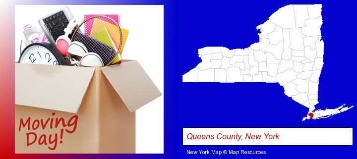 moving day; Queens County, New York highlighted in red on a map