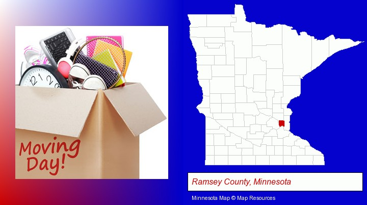 moving day; Ramsey County, Minnesota highlighted in red on a map