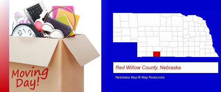 moving day; Red Willow County, Nebraska highlighted in red on a map