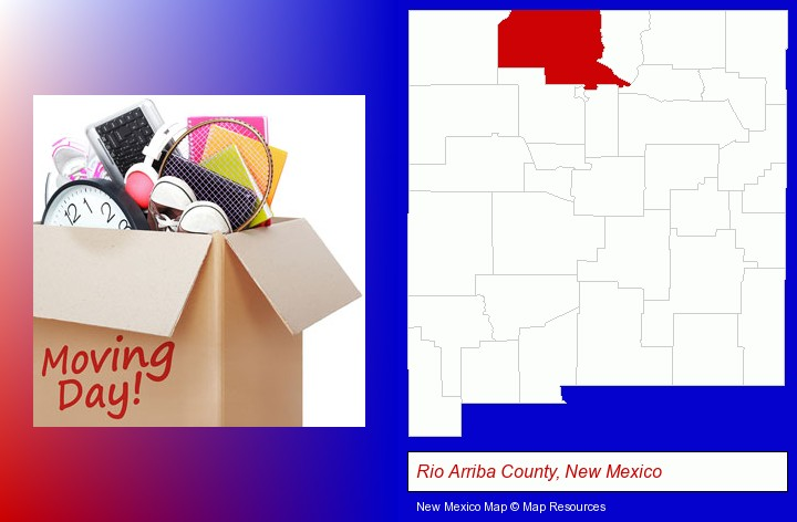 moving day; Rio Arriba County, New Mexico highlighted in red on a map