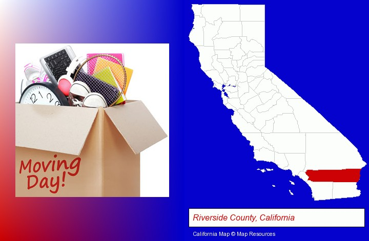 moving day; Riverside County, California highlighted in red on a map