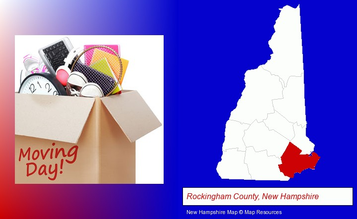 moving day; Rockingham County, New Hampshire highlighted in red on a map