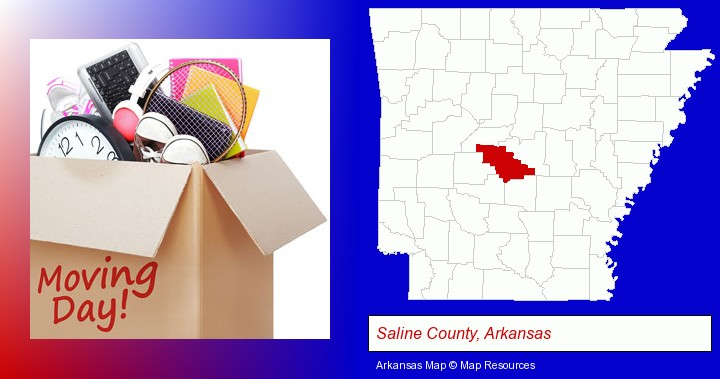 moving day; Saline County, Arkansas highlighted in red on a map