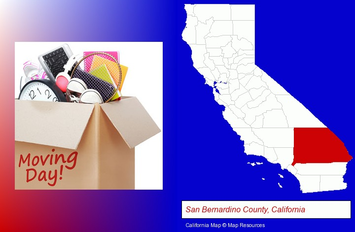 moving day; San Bernardino County, California highlighted in red on a map