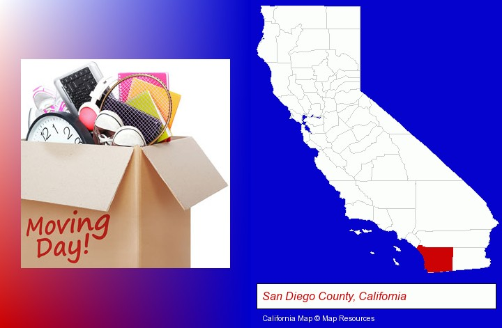 moving day; San Diego County, California highlighted in red on a map