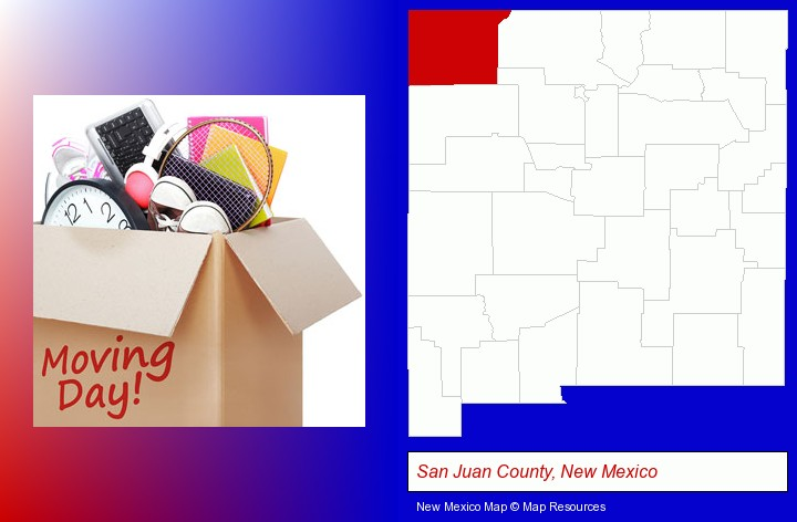 moving day; San Juan County, New Mexico highlighted in red on a map