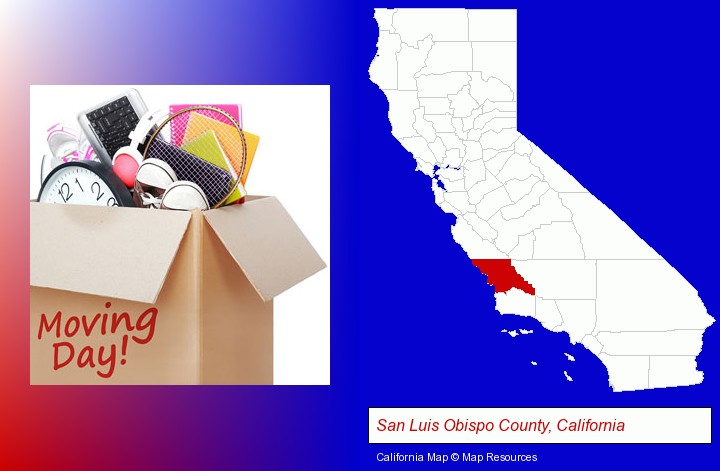 moving day; San Luis Obispo County, California highlighted in red on a map