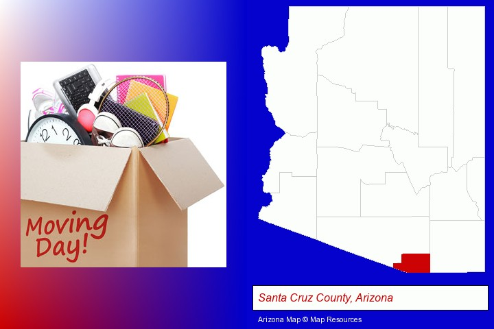 moving day; Santa Cruz County, Arizona highlighted in red on a map
