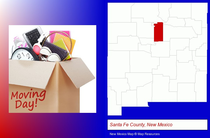 moving day; Santa Fe County, New Mexico highlighted in red on a map