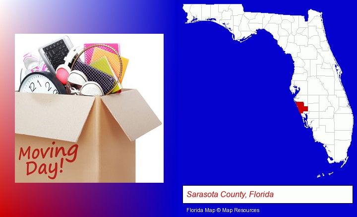 moving day; Sarasota County, Florida highlighted in red on a map