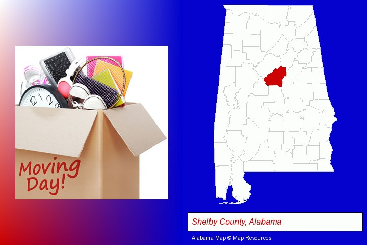 moving day; Shelby County, Alabama highlighted in red on a map