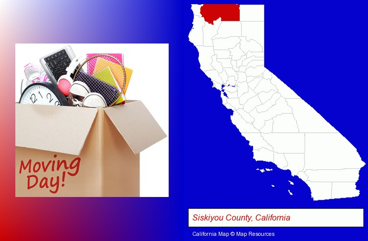 moving day; Siskiyou County, California highlighted in red on a map