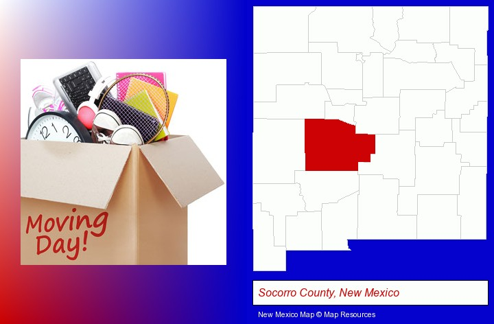 moving day; Socorro County, New Mexico highlighted in red on a map