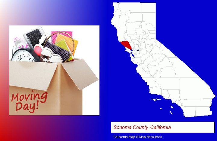 moving day; Sonoma County, California highlighted in red on a map