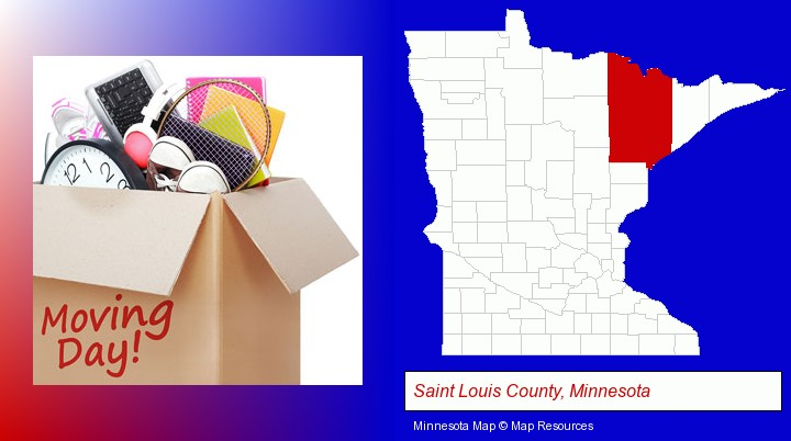 moving day; Saint Louis County, Minnesota highlighted in red on a map