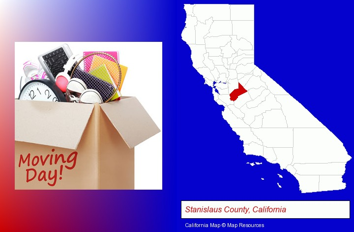 moving day; Stanislaus County, California highlighted in red on a map