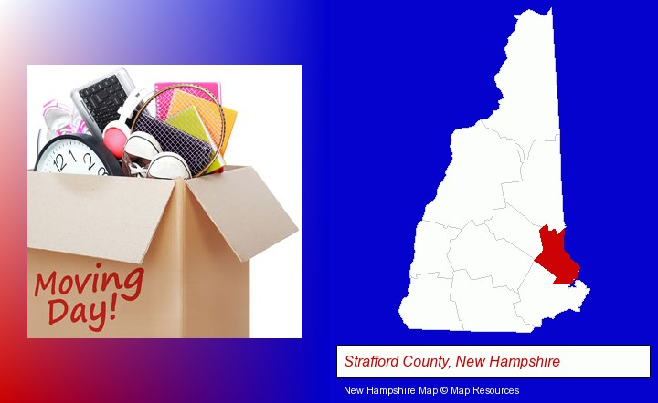 moving day; Strafford County, New Hampshire highlighted in red on a map