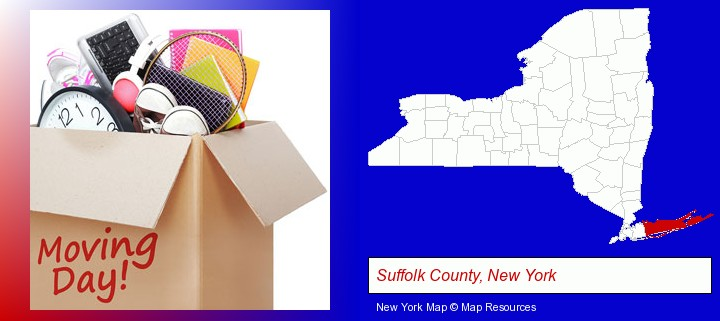 moving day; Suffolk County, New York highlighted in red on a map