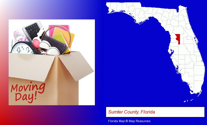 moving day; Sumter County, Florida highlighted in red on a map