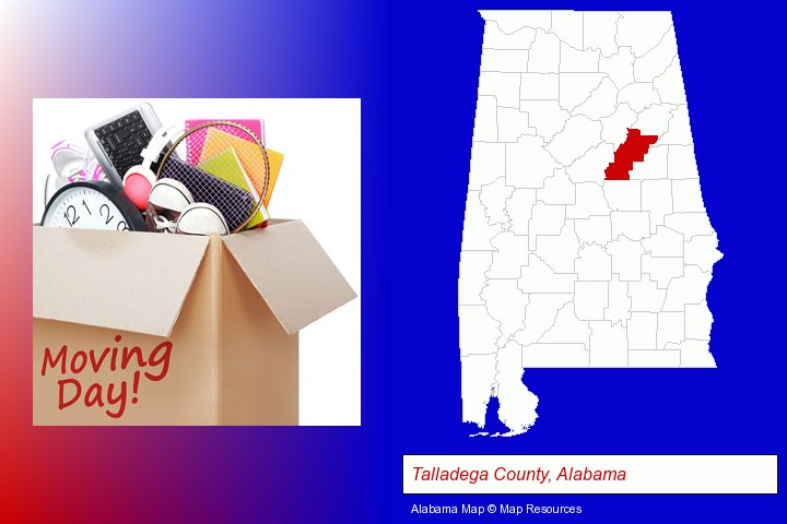 moving day; Talladega County, Alabama highlighted in red on a map