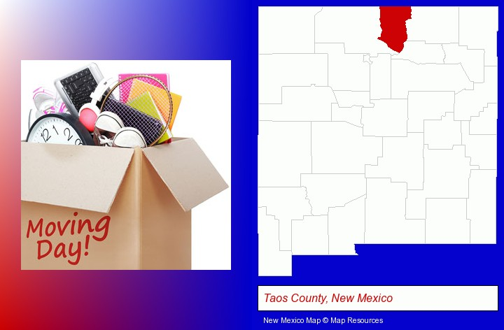 moving day; Taos County, New Mexico highlighted in red on a map