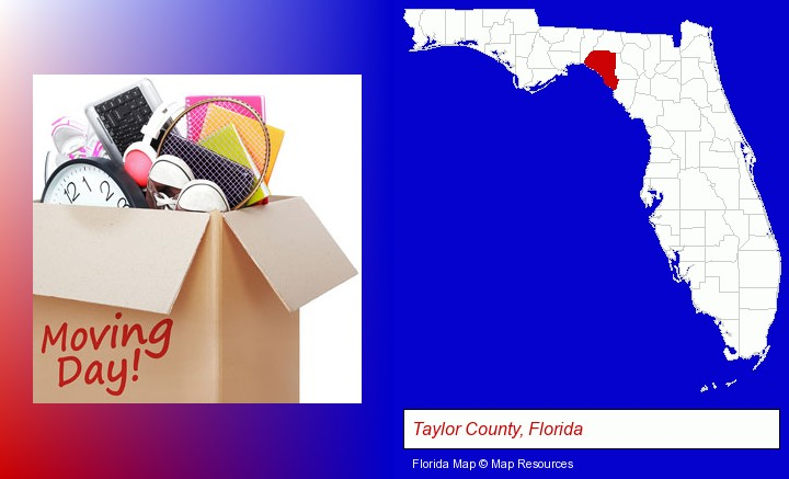 moving day; Taylor County, Florida highlighted in red on a map