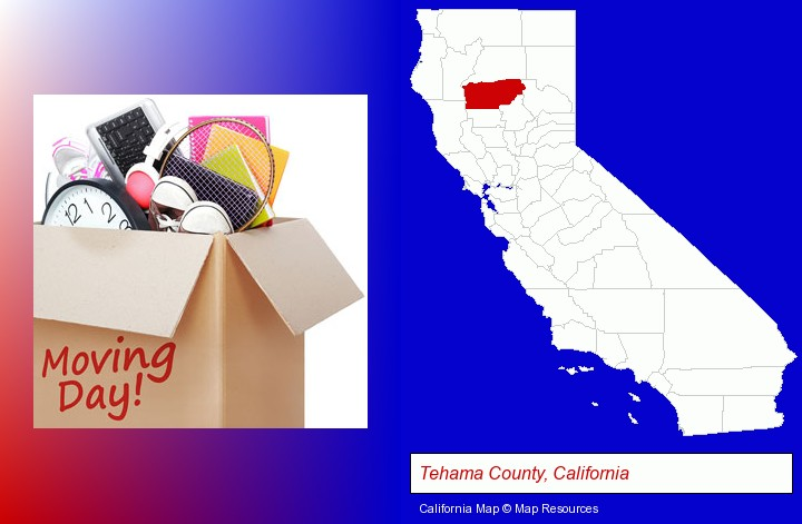 moving day; Tehama County, California highlighted in red on a map