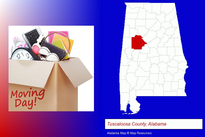 moving day; Tuscaloosa County, Alabama highlighted in red on a map