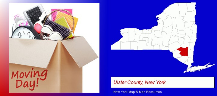 moving day; Ulster County, New York highlighted in red on a map