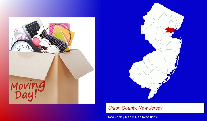 moving day; Union County, New Jersey highlighted in red on a map