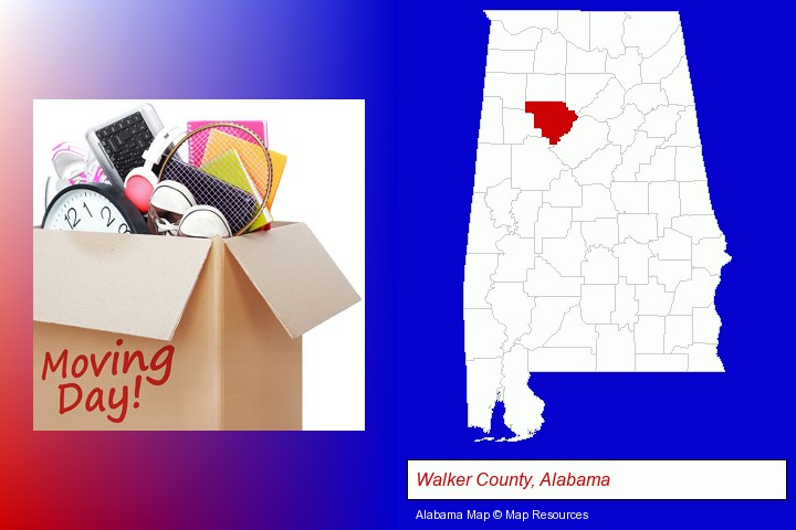 moving day; Walker County, Alabama highlighted in red on a map