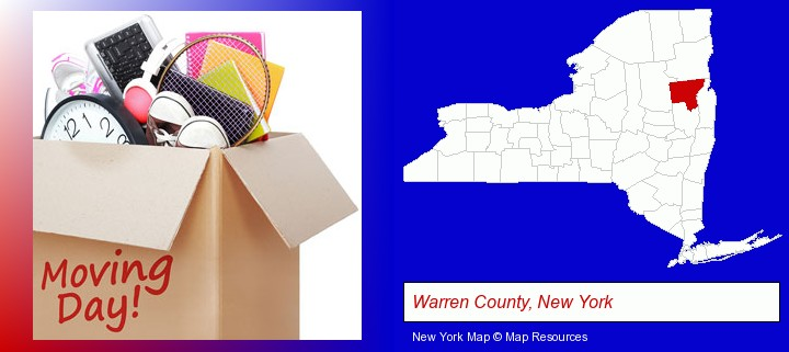 moving day; Warren County, New York highlighted in red on a map